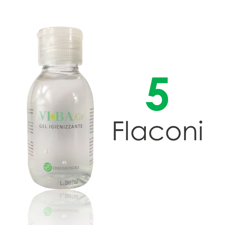5 Flaconi VIBAKILL IGIENIZZANTE MANI 100 ML con Aloe, Oli essenziali di Bergamotto e Limone, Betaina