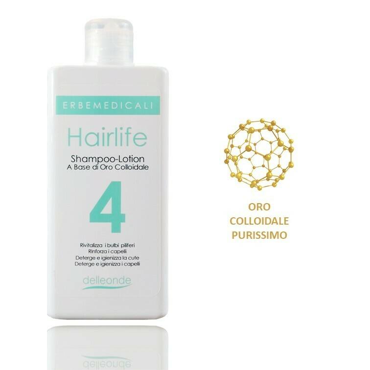 HAIRLIFE4® - SHAMPOO LOTION 4 AZIONI ANTICADUTA CAPELLI A BASE DI ORO COLLOIDALE, VITAMINA B5 e VITAMINA B8 225 ml