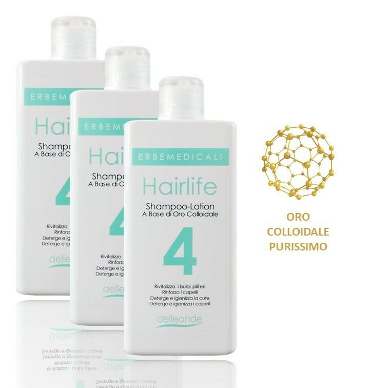 3 confezioni HAIRLIFE4® - SHAMPOO LOTION 4 AZIONI ANTICADUTA CAPELLI A BASE DI ORO COLLOIDALE, VITAMINA B5 e VITAMINA B8 225 ml