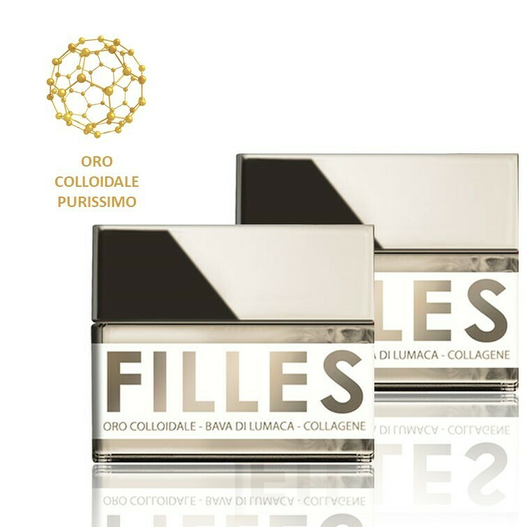 2 Confezioni FILLES La Crema FERMATEMPO 50 ml - Oro Colloidale, Bava di Lumaca e Collagene