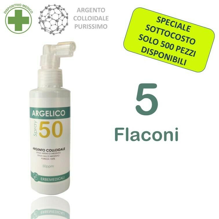 5 Confezioni ARGELICO® - ARGENTO COLLOIDALE PURISSIMO 150 ml 50 PPM