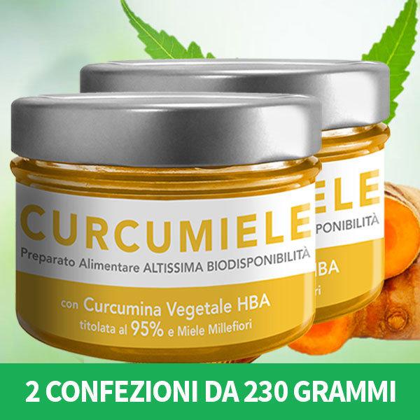 2 Conf. CURCUMIELE GRANDE 230 g. -Preparato a Base Di CURCUMINA HBA (Titolo 95%) e Miele Millefiori di Collina
