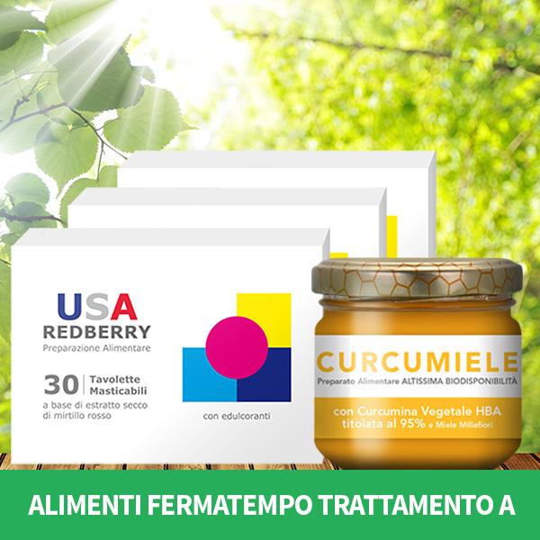 ALIMENTI FERMATEMPO TRATTAMENTO A: 3 REDBERRY + 1 CURCUMIELE 110 g AFT2