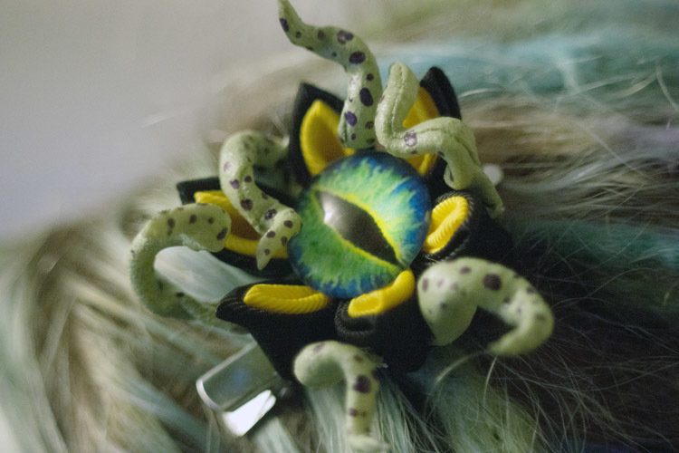 "Eyeball Tentacles ""Creepy Kanzashi"" Hair Ornaments"