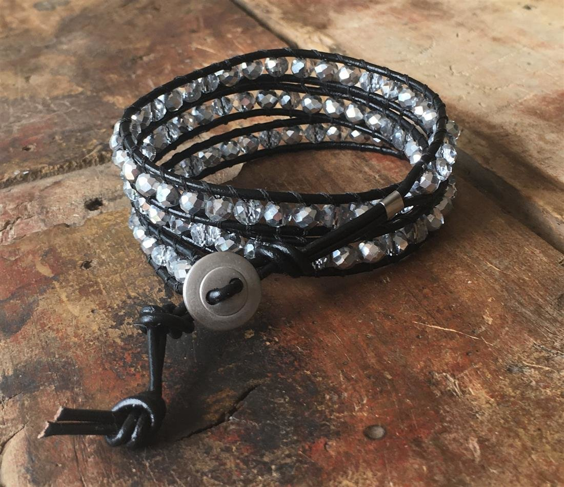 Leather Wrap Bracelet Silver Faceted Glass Beads