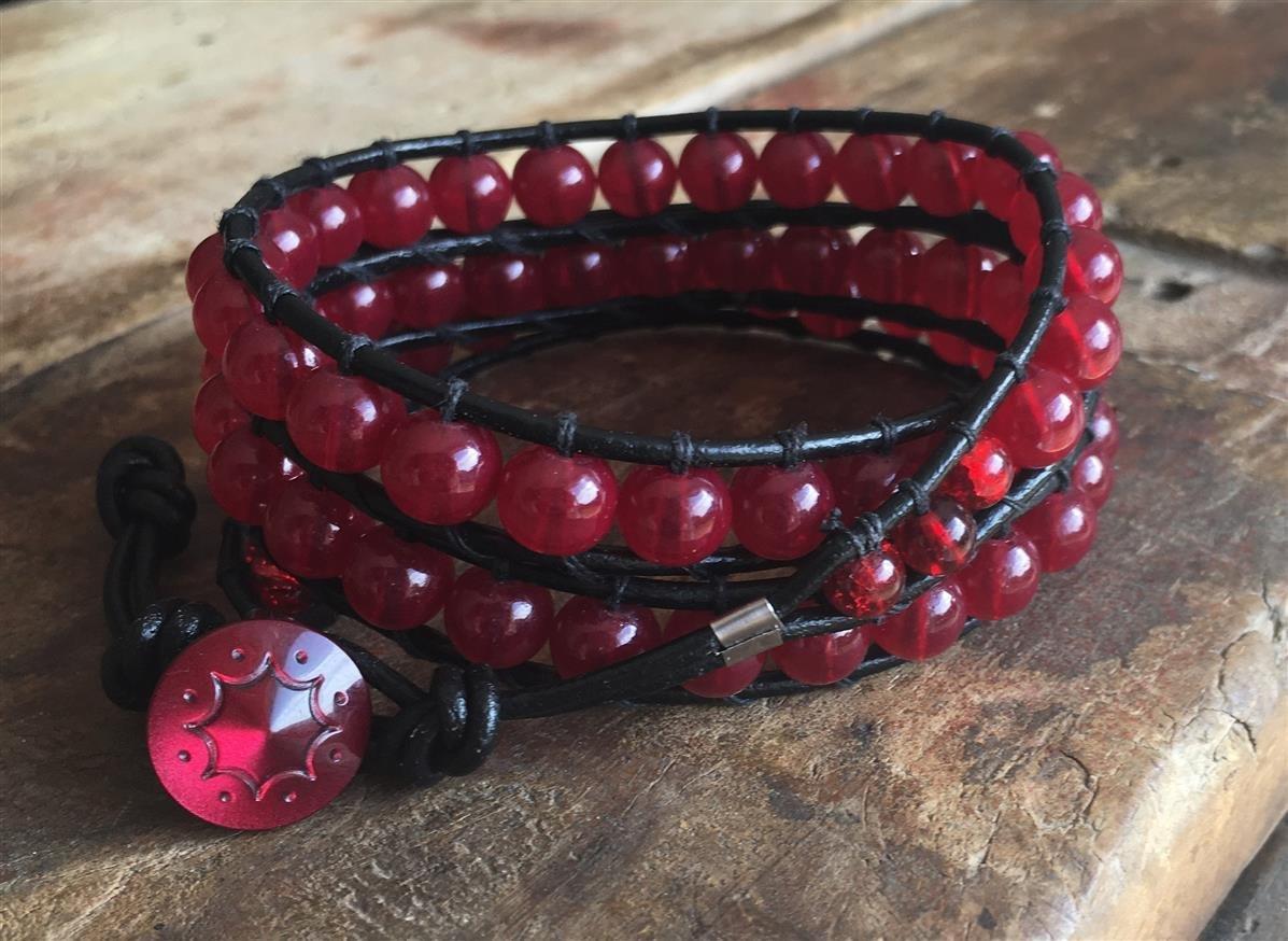 Leather Wrap Bracelet Red Glass Beads 005
