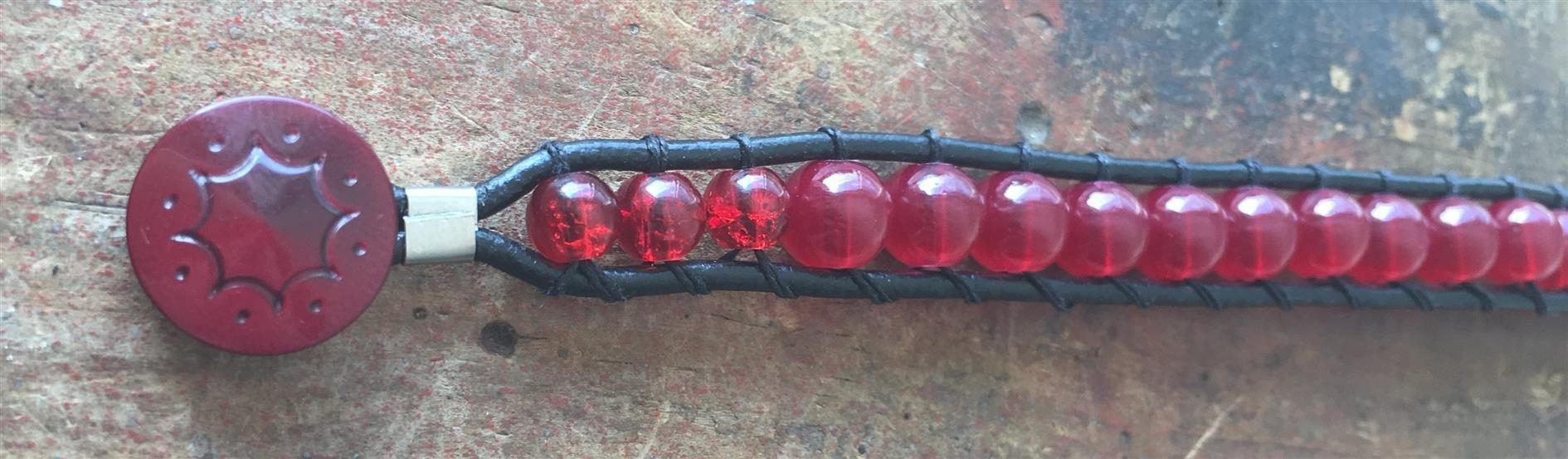 Leather Wrap Bracelet Red Glass Beads