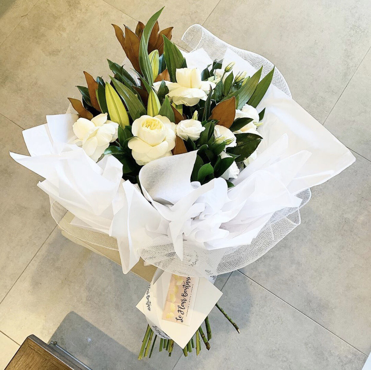 White & Green Bouquet (Pre Order Only - Min 24hrs Notice)