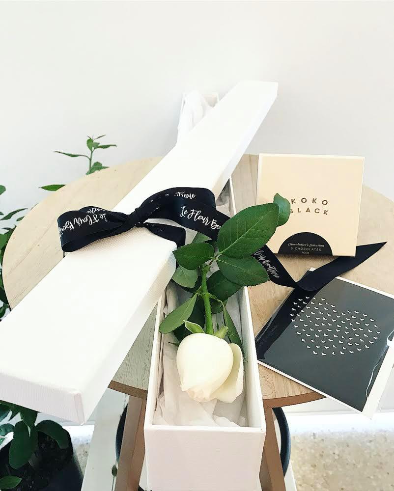 Gorgeous Single White Rose Box