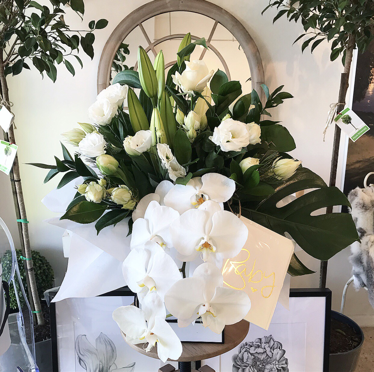 White & Green Box of Blooms