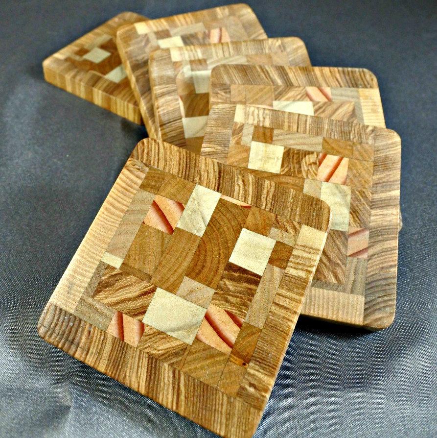 Dessous de verre patchwork bois