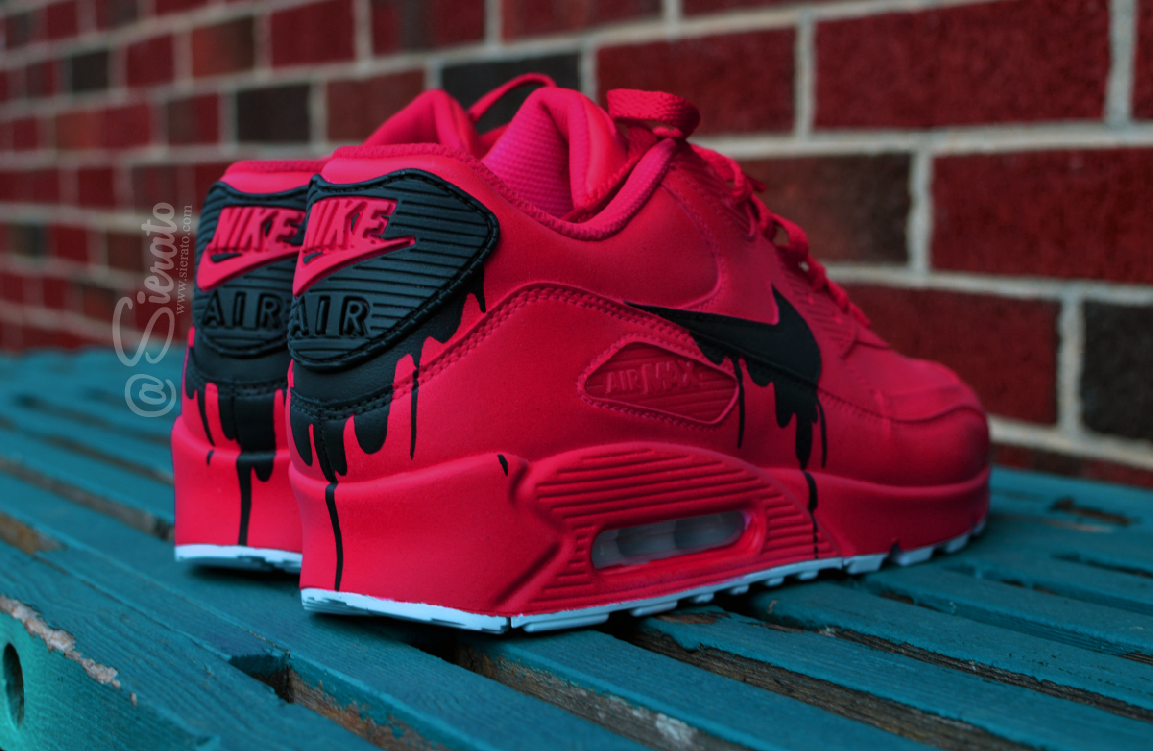 Nike Air Max 90 Custom Spray Painting Pink Black Sneakers