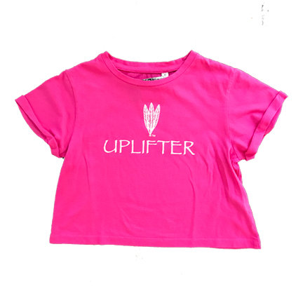Youth Crop Shirt: UPLIFTER: Pink: Sizes XS, S, M, L, XL upcroppink