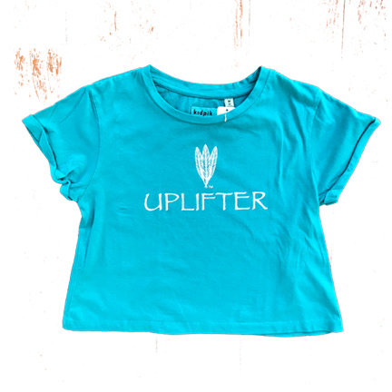 Youth Crop Shirt: UPLIFTER: Teal: Sizes XS, S, M, L, XL upcropteal