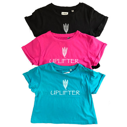 Youth Crop Shirt: UPLIFTER: Black: Sizes XS, S, M, L, XL