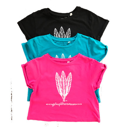 Youth Crop Shirt: UPLIFTER: Pink: Sizes XS, S, M, L, XL