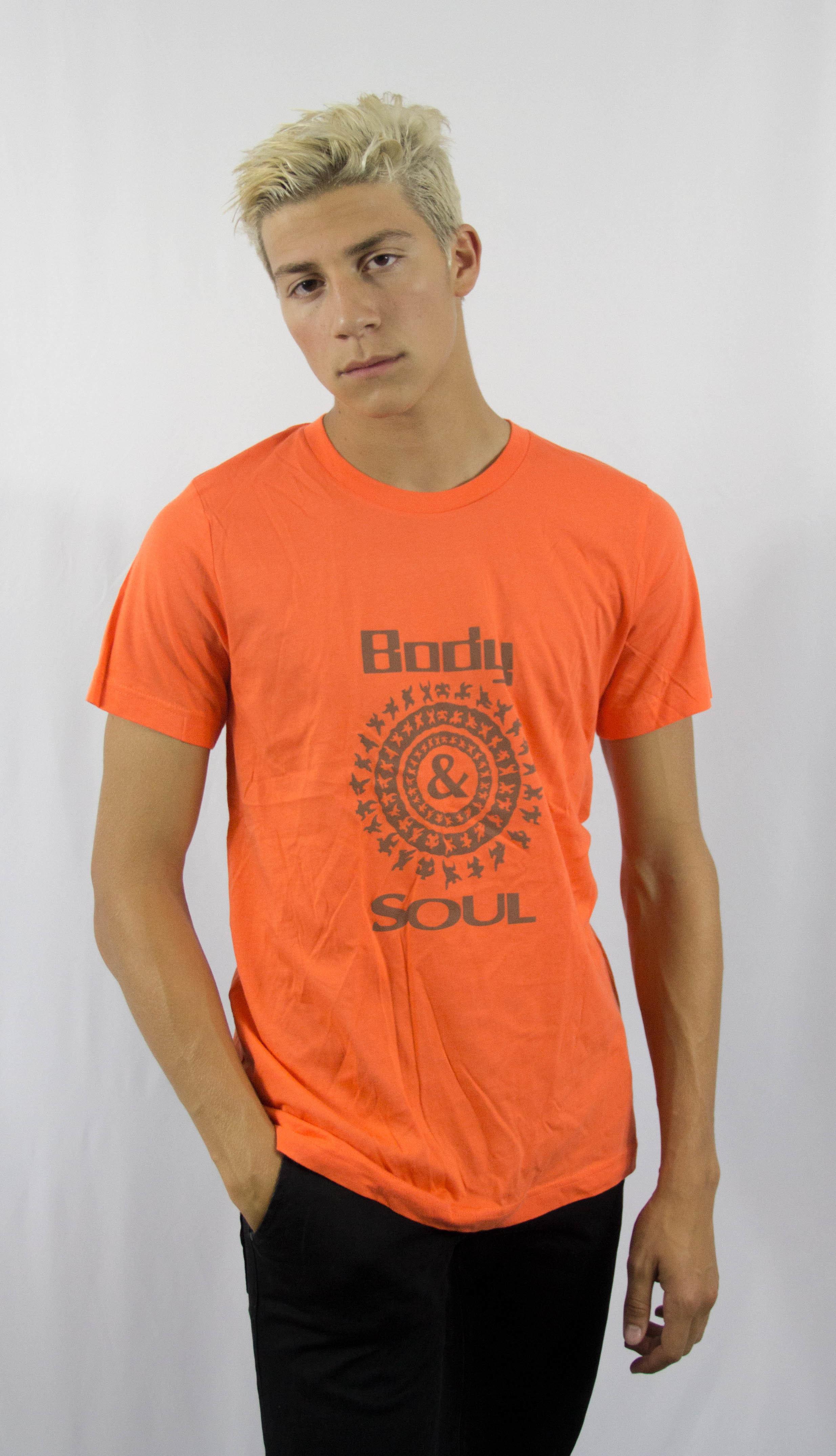 Men B&S logo Front Orange w/ Brown Ink L 00002