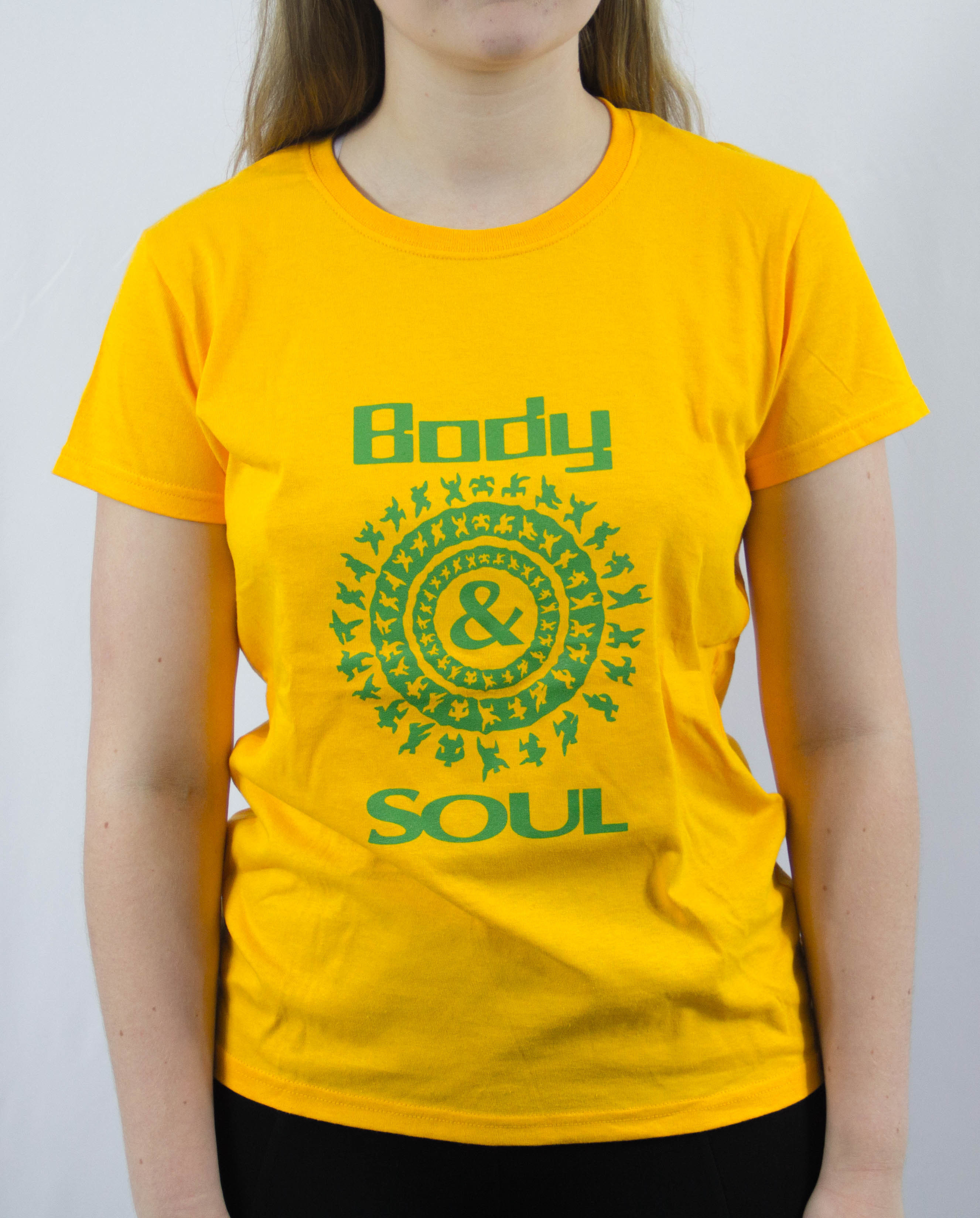 Women Crew neck B&S Logo Front Yellow w/ Green Ink L 00009