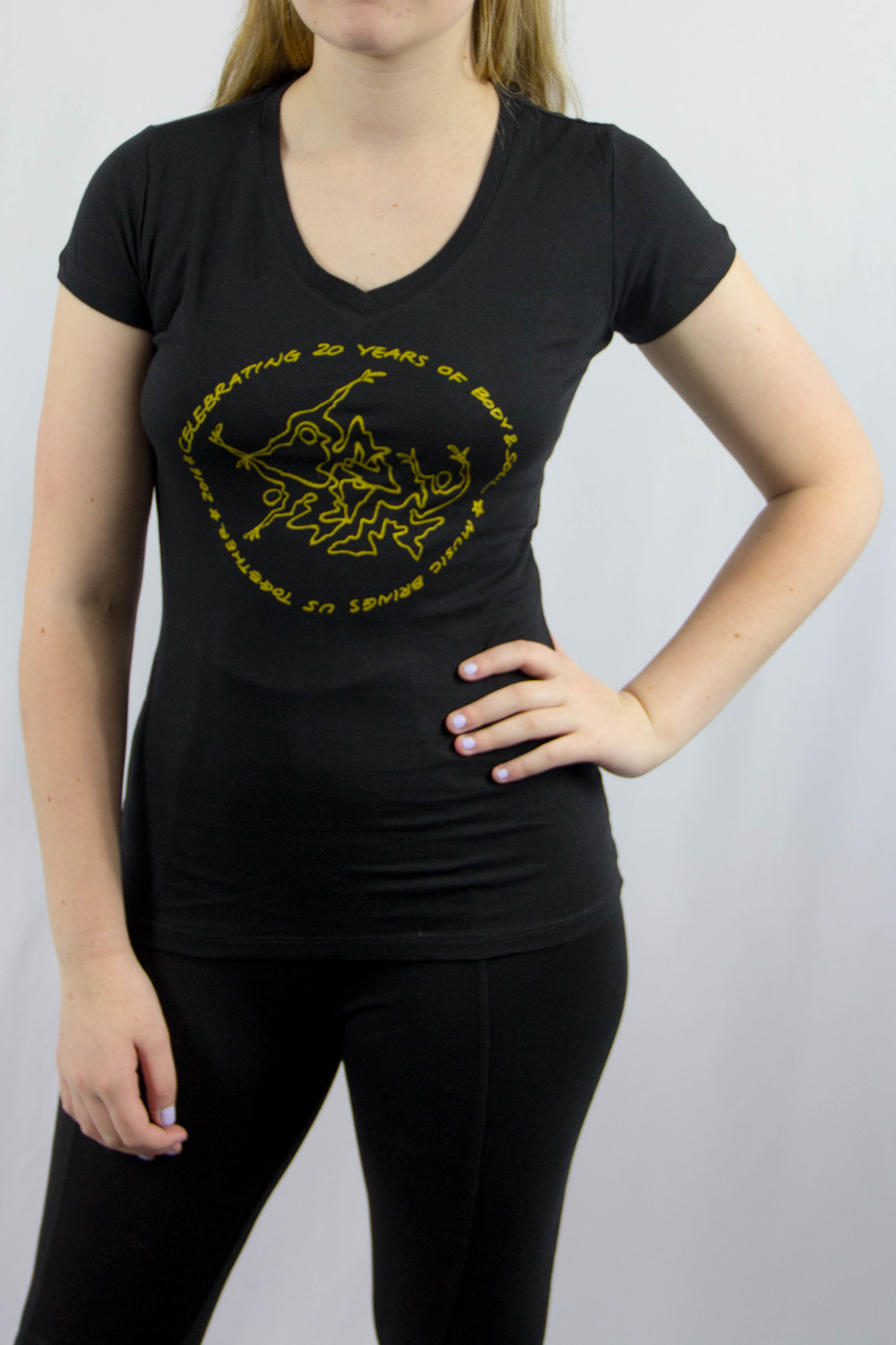 Women V-neck 20th Anniv Black w/ Gold Ink S QII5CAXMDEREQTJD6URFOW7X