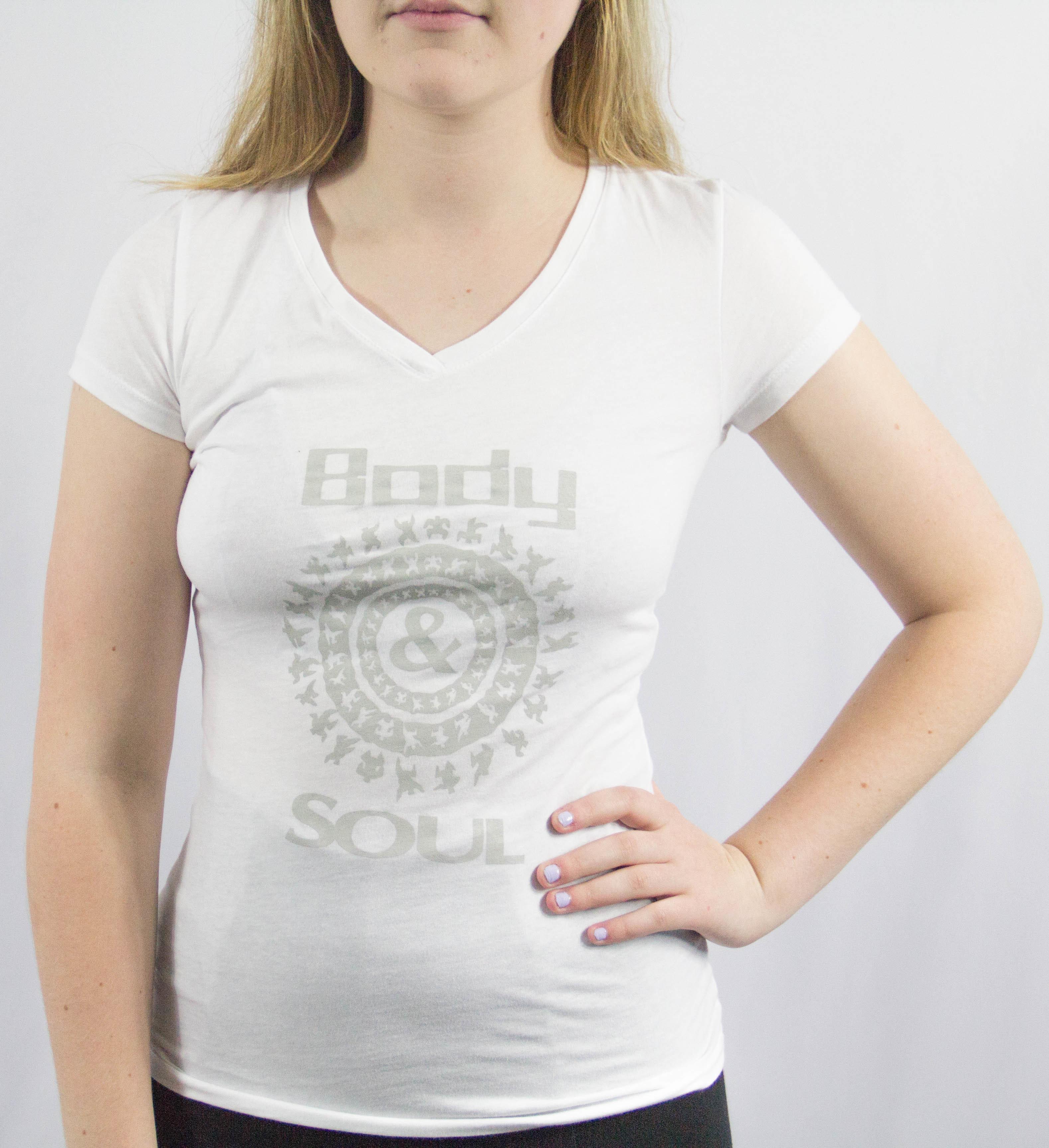 Women V-neck B&S Logo Front White w/ Grey Ink M 00010