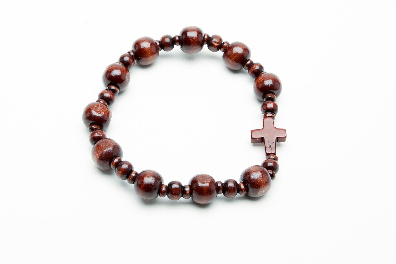 Mens Boxwood Wooden Rosary Bracelet