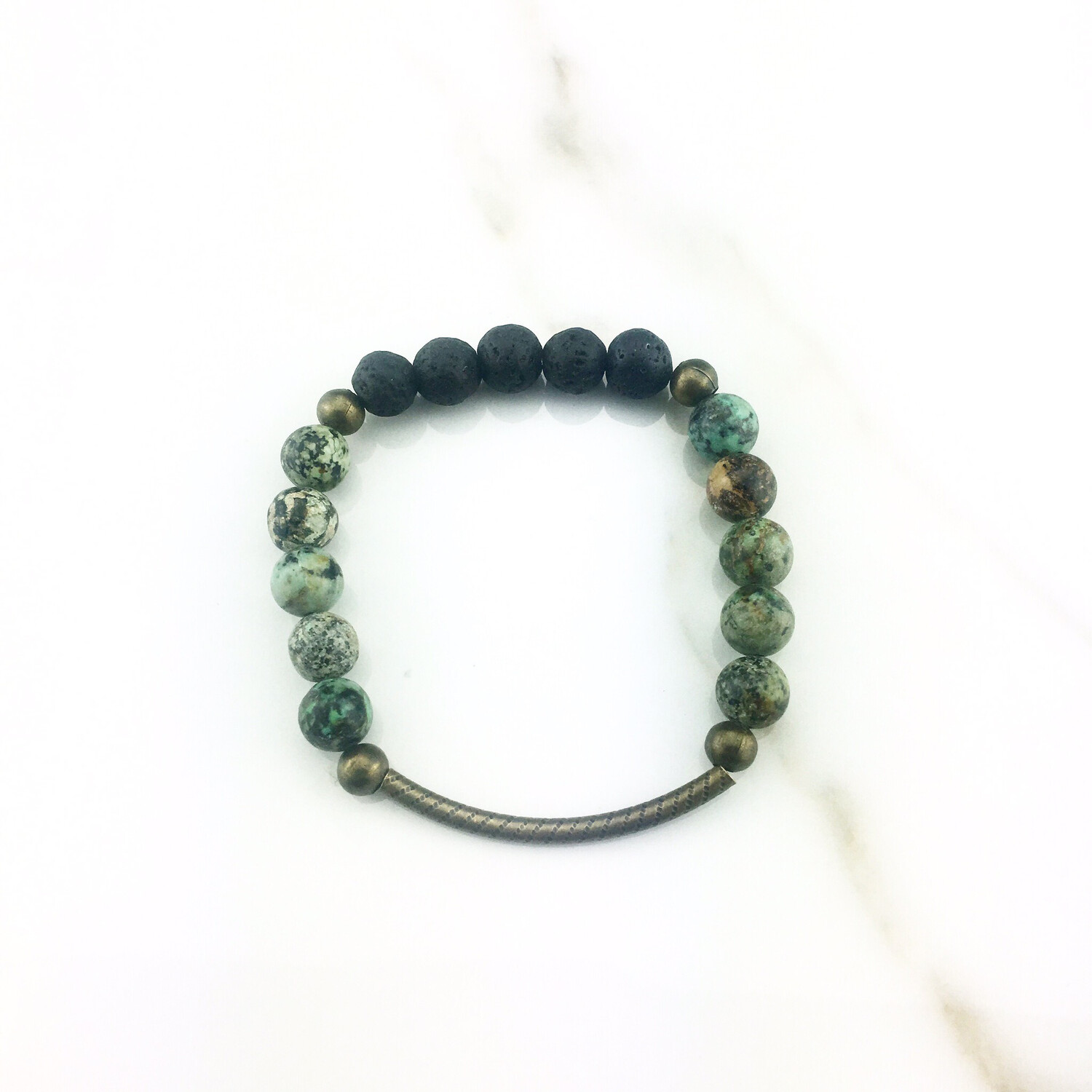African Turquoise Bead Diffuser Bracelet