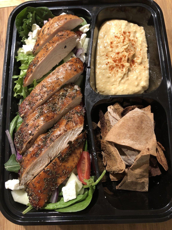 Greek Balsamic Chicken with Hummus and Pita