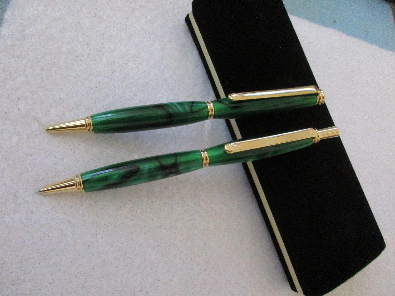 Beaded slimline pen and pencil set.