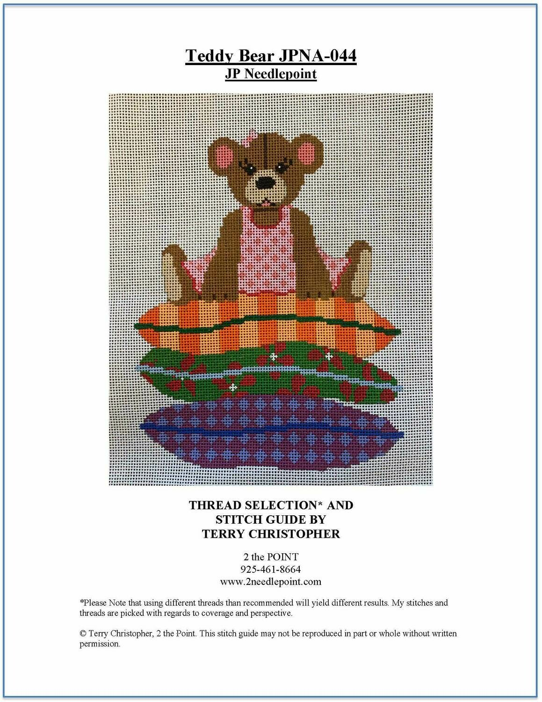 JP Needlepoint, Teddy Bear on top of Pillows JPNA044