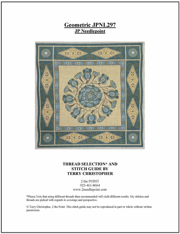 JP Needlepoint, Blue Geometric JPNL297