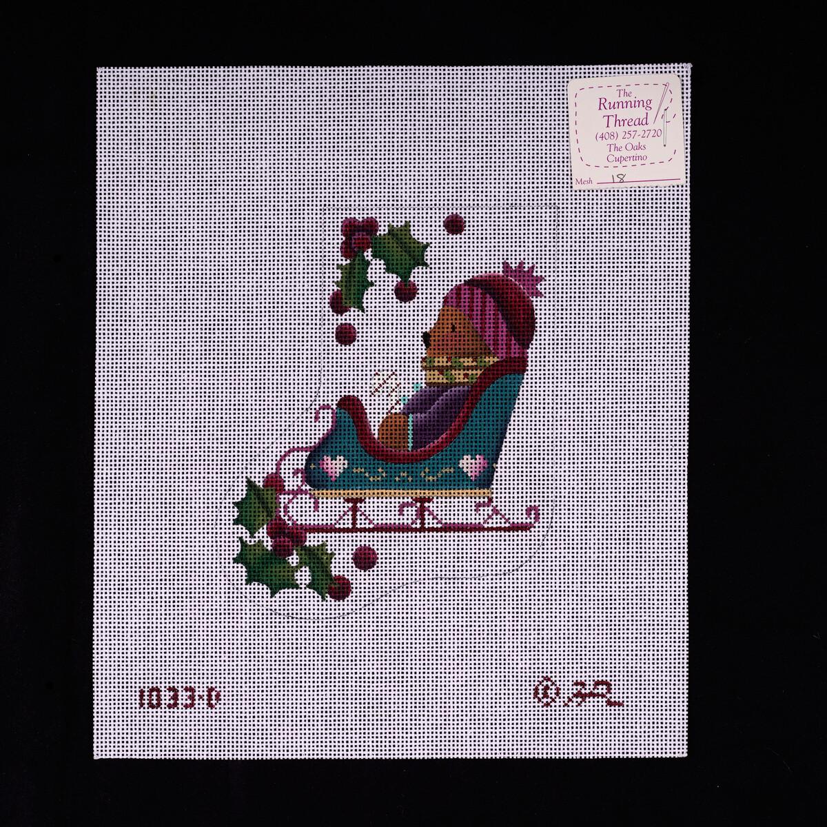 Melissa Shirley, Mini Sock, Bear in Sleigh, MS1033D