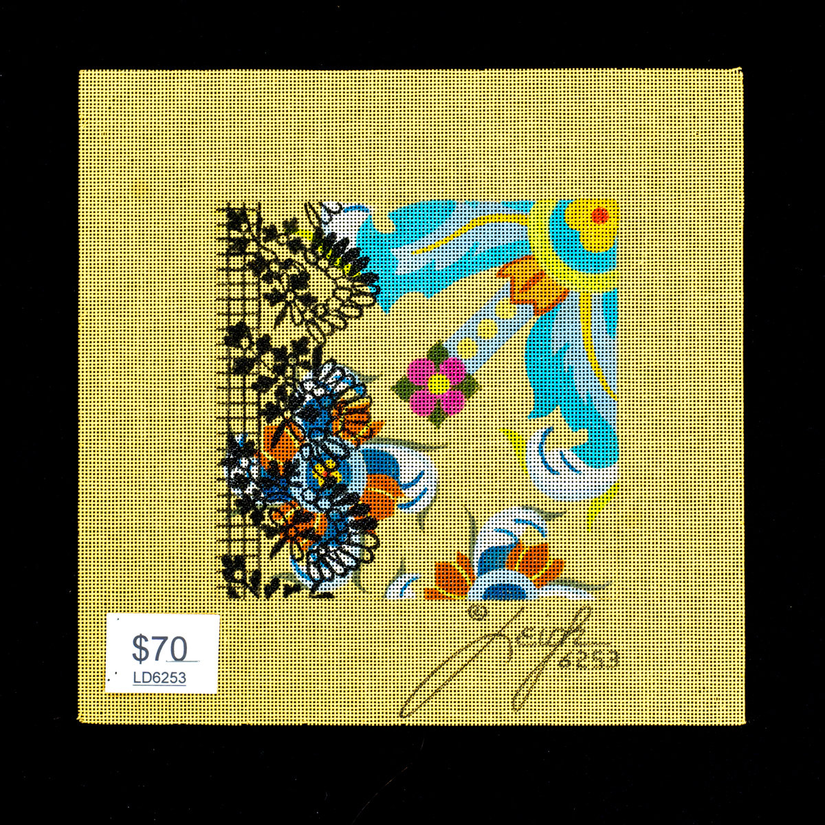 Leigh Designs, Floral on yellow canvas, LD6253