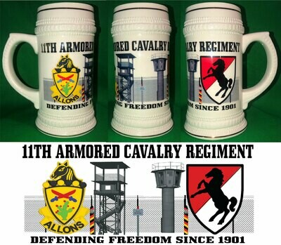 11TH ARMOR CAVALRY BEER STEIN 22oz FREE SHIPPING