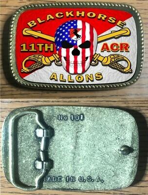 11TH ACR Blackhorse Rectangle Belt Buckle
