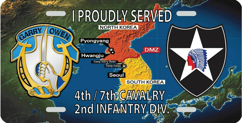 4th / 7th Cav Korea License Plate FREE SHIPPING