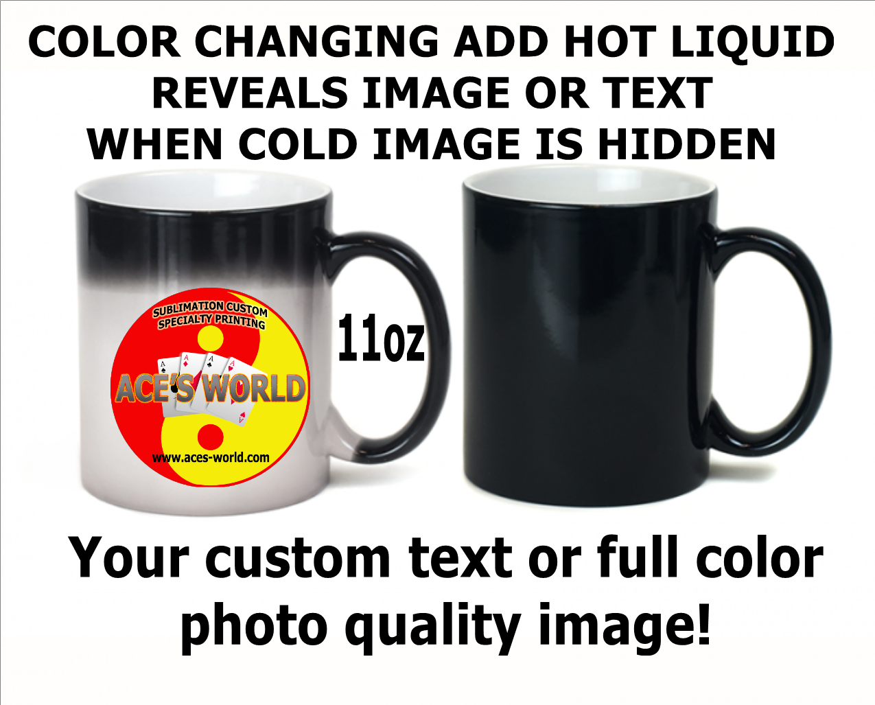 Color Changing Ceramic Coffee Mug - 11oz. Custom Image
