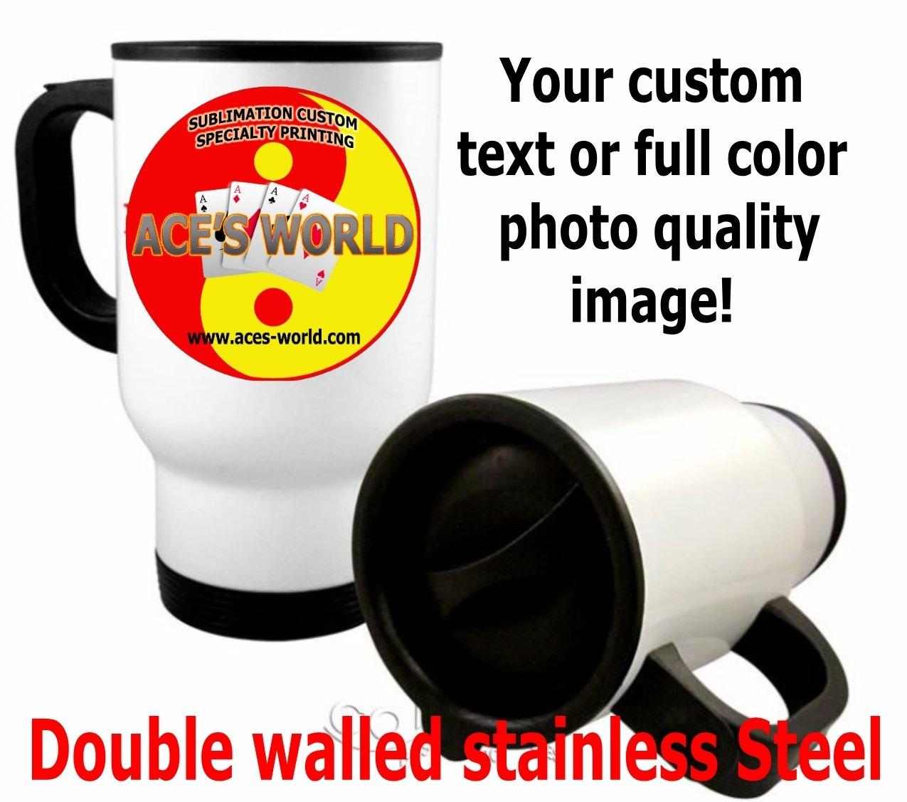 White Stainless Steel Travel Mug - 14oz. Custom Image