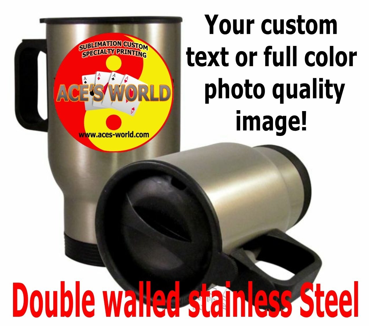 Stainless Steel Travel Mug - 14oz. Custom Image