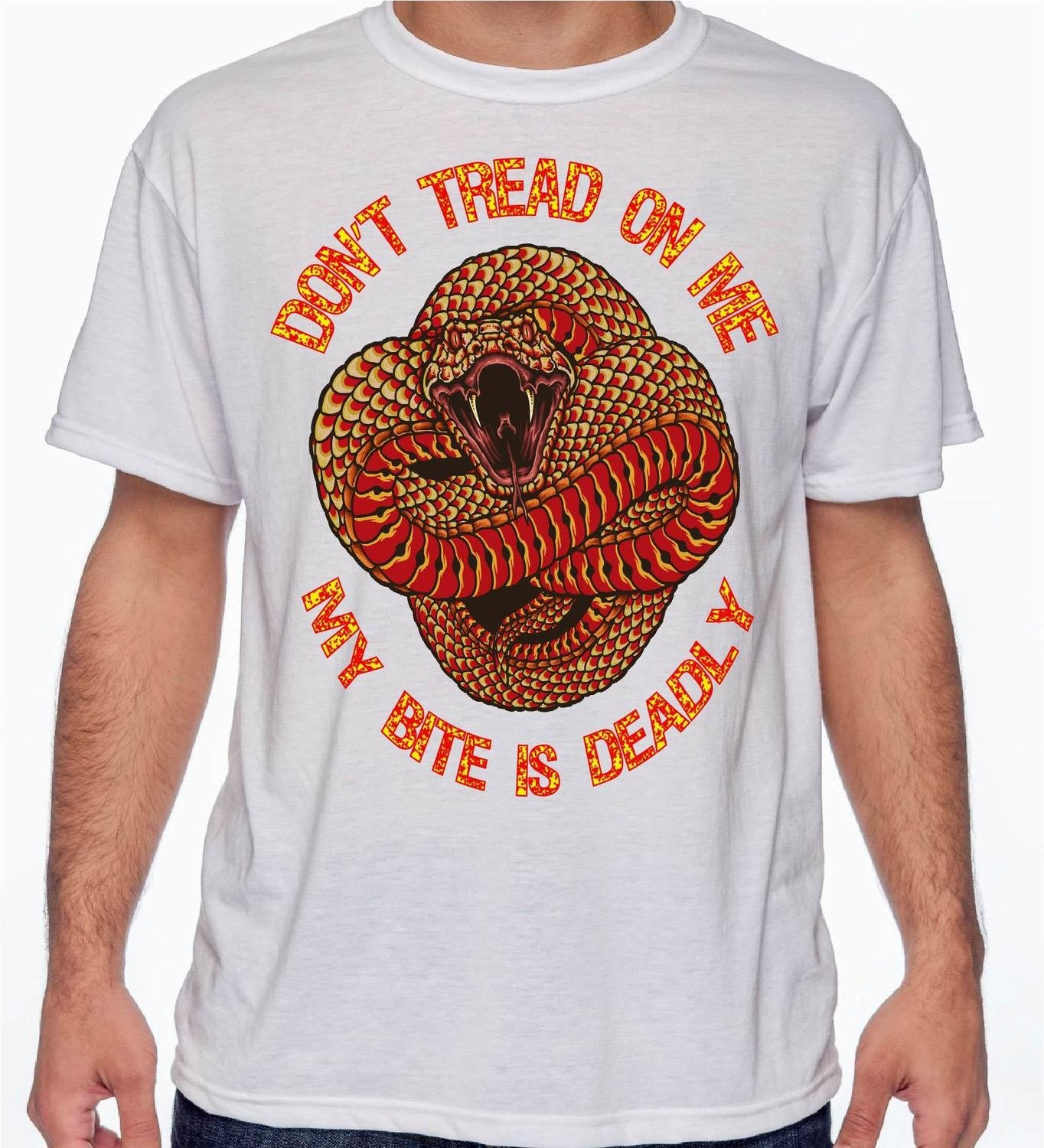 Red & Gold Don't Tread On Me T-Shirt Ace Designs FREE SHIPPING