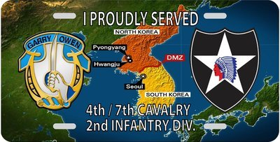 4th / 7th Cav Korea License Plate FREE SHIPPING