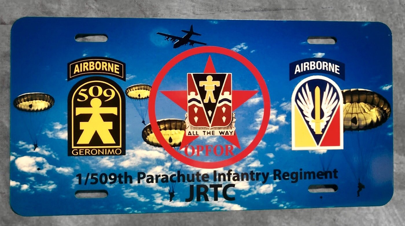 1/509th PIR JRTC License Plate Free Shipping