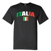 Italia Distressed Soccer Black T-Shirt 00174