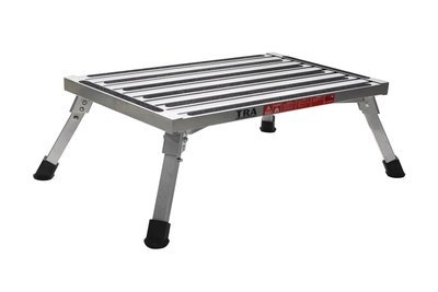 Extra large platform, portable folding caravan step