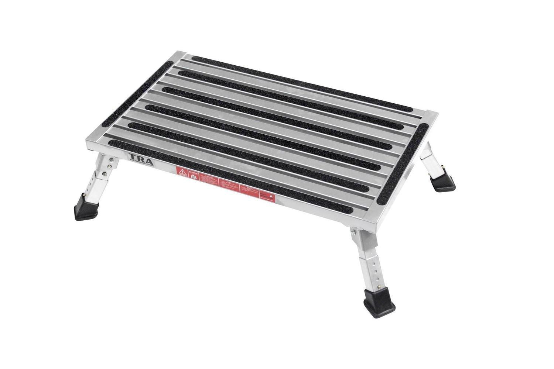 Extra large platform single folding step with adjustable height legs