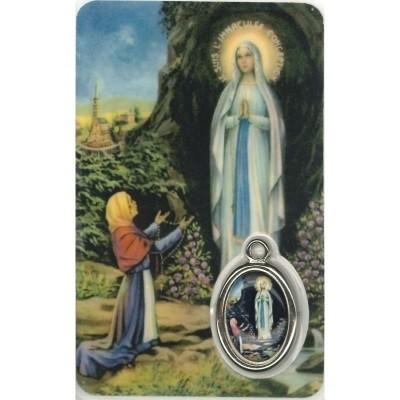 Lourdes Kaartje met Medaille en Gebed