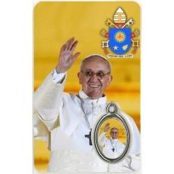 Paus Franciscus met Medaille en Gebed