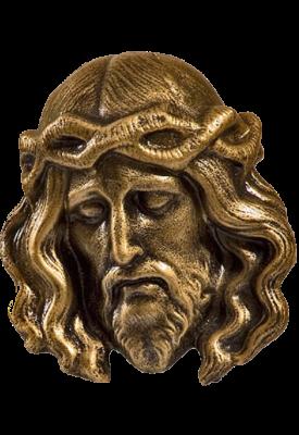 Hoofd Lijdende Christus kunststof BRONSKLEUR 12 cm