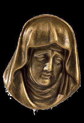 Hoofd Lijdende Madonna kunststof BRONSKLEUR 12 cm