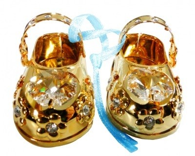 BABY-SCHOENTJES BLAUW Swarovski® Crystals - 24 K Verguld