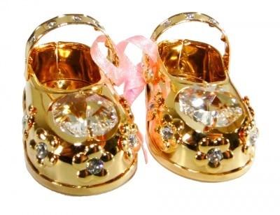 BABY-SCHOENTJES ROZE Swarovski® Crystals - 24 K Verguld